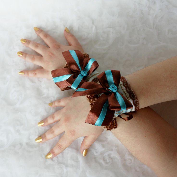 Brown-blue wrist cuffs, bracelets, wrist wraps, steampunk, princess, romantic, fantasy by AlicesLittleRabbit on Etsy