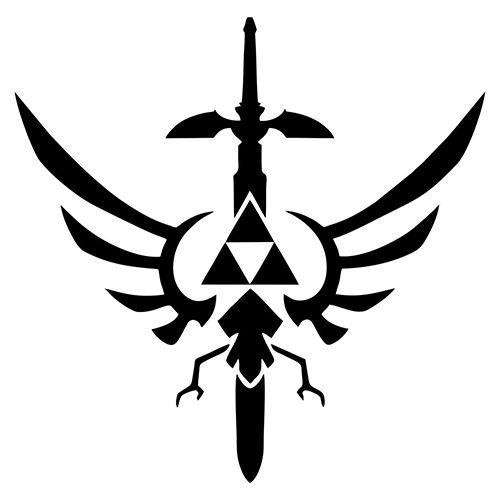 Legend of Zelda Triforce Mastersword Die Cut Vinyl Decal PV1990