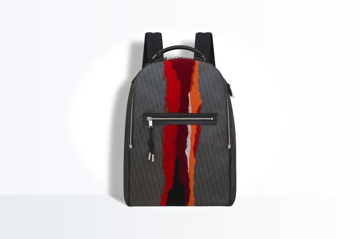 Mochila de tela darklight empenachada roja - Dior