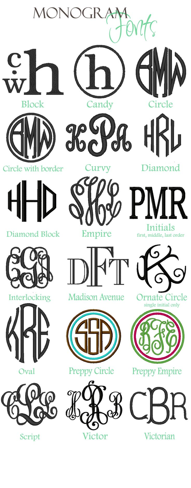 monogram | Monogram Styles Name Styles Thread Colors Vinyl Decal Fonts Vinyl ...