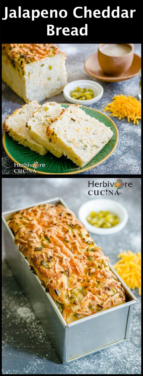Herbivore Cucina: Jalapeño and Cheddar Bread...A spicy and cheesy bread made from scratch. Few things can beat this Jalapeño and Cheddar Bread when it comes to flavor and ease of making! #VivaLaMorena #CollectiveBias #Ad #JalapeñoCheddarBread #EgglessBaking #BreadsAndCakes #PepperBread #CheeseBread #CheddarCheeseRecipes #JalapenoCheesePoppers #WhiteBread #Sandwich #JalapenoRecipes