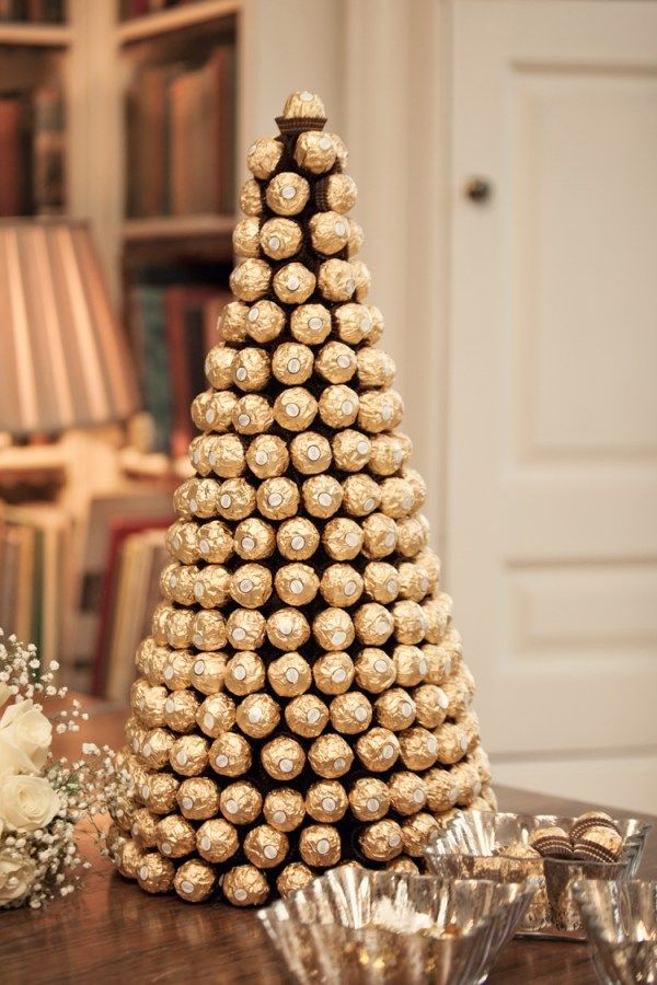 Ferrero Rocher Tower Cake Classic Chic Simple Elegant Champagne Wedding Kent http://kerryannduffy.com/