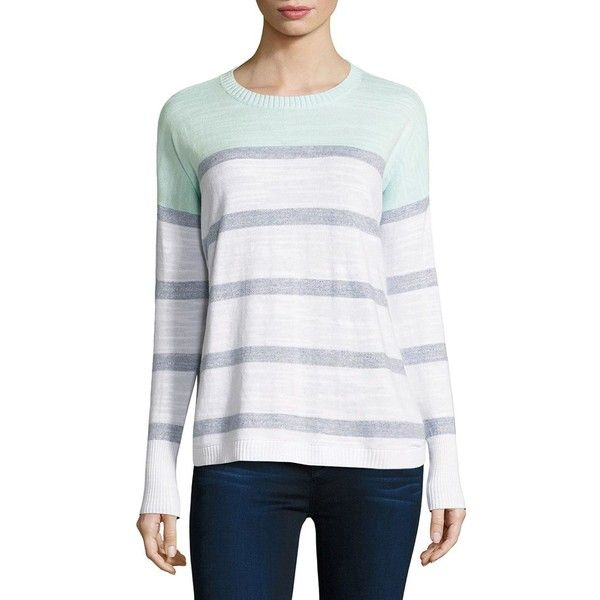 Vineyard Vines Colorblock Striped Cotton Sweater ($98) ❤ liked on Polyvore featuring tops, sweaters, vineyard vines, cotton pullovers, sweater pullover, long sleeve pullover sweater and vineyard vines sweater