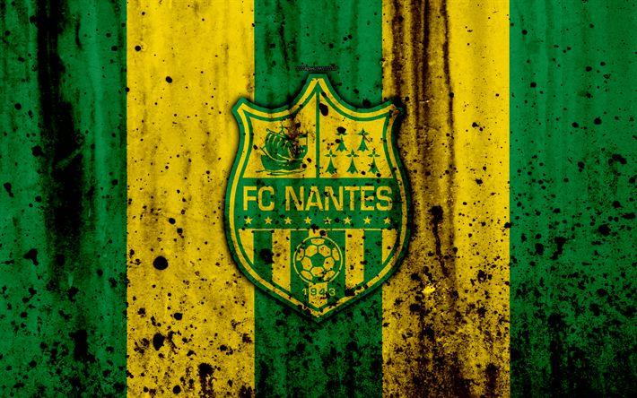 Download wallpapers FC Nantes, 4k, logo, Ligue 1, stone texture, Nantes, grunge, soccer, football club, metal texture, Liga 1, Nantes FC