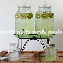 Double Glass Drink Dispenser & Stand - 4L