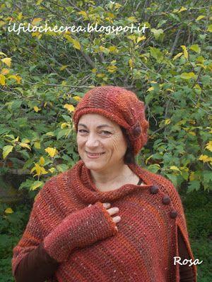 """IL FILO CHE CREA: CAL poncho e cappello """"Falling leaves"""" , all'uncinetto tunisino"""