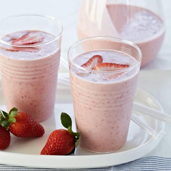 This strawberry and banana smoothie gets a dose of protein from almond butter.