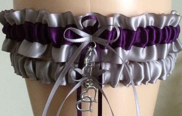 Silver and Plum Purple Wedding Garter Set, Prom Garter Set