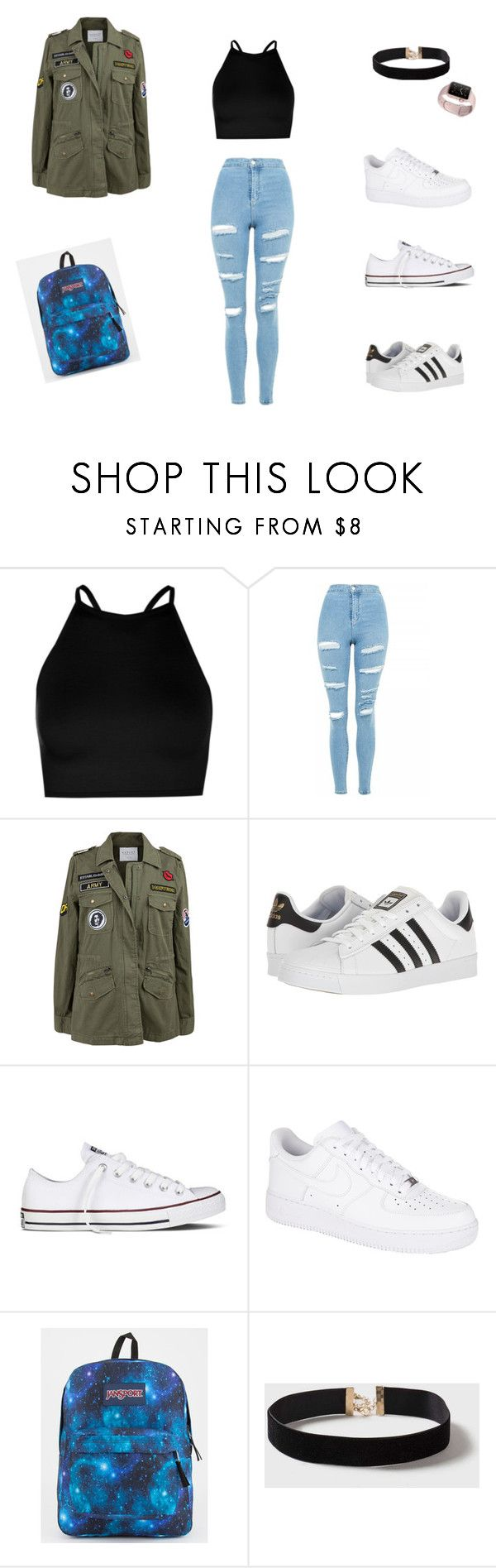 """""""Outfit for school"""" by sheilahudsonx on Polyvore featuring Boohoo, Topshop, Velvet by Graham & Spencer, adidas, Converse, NIKE, JanSport and Dorothy Perkins"""
