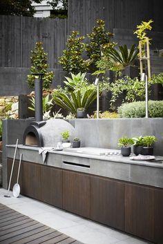 outdoor entertaining, outdoor kitchen, pizza oven, barbeque, landscaping, garden