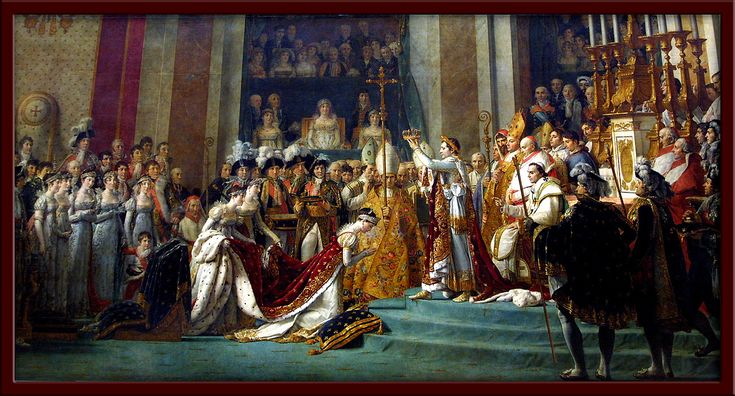 Consecration of Emperor Napoleon I and the Coronation of the Empress Josephine by Jaques-Louis David. Housed in the Louvre.