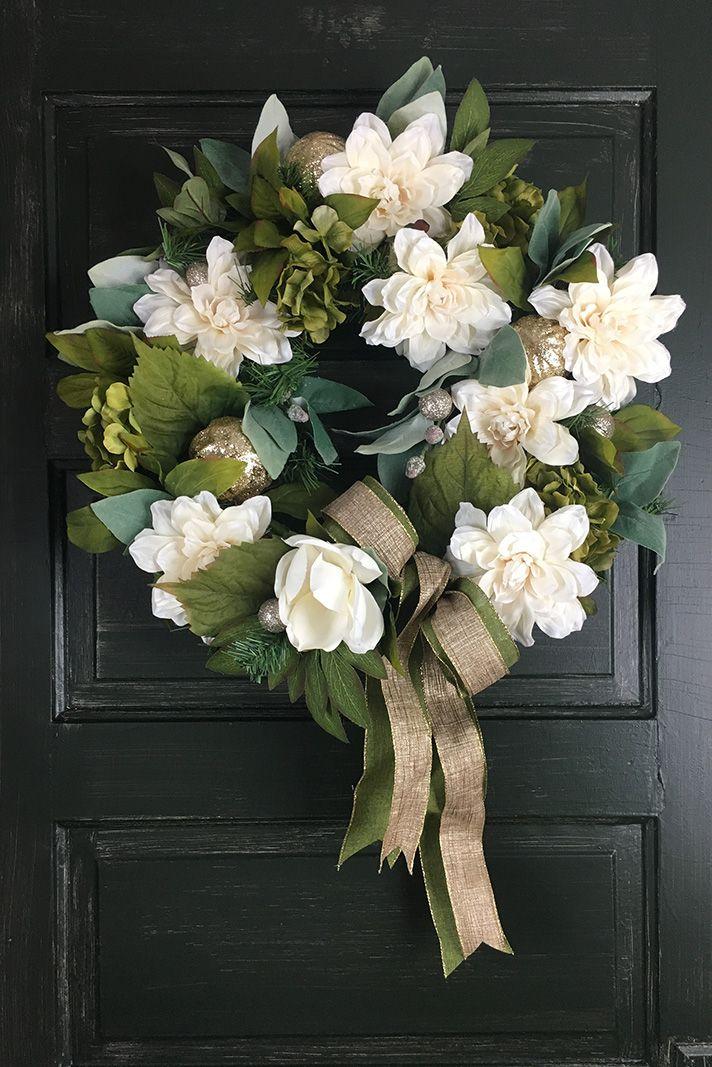 Christmas Wreath White Gardenia • Heather Hill Wreathery. Guaranteed $25 shipping! Wreath storage box included.