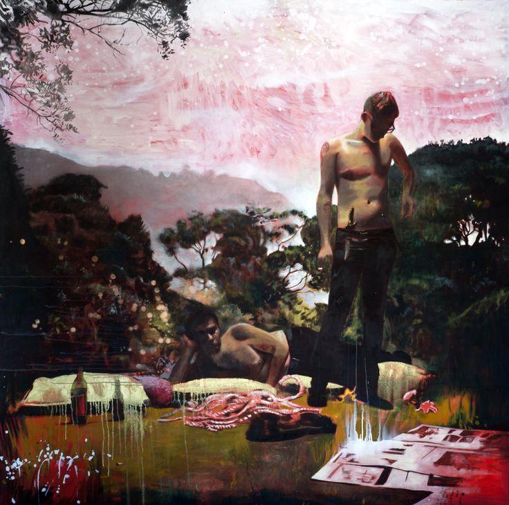 Bromance 2, 2m x 2m, oil on canvas, 2014, Matthew Hindley