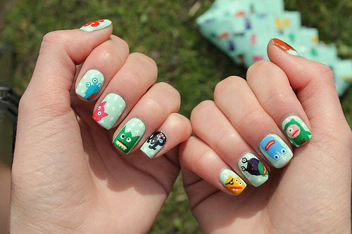 cartoon monster nails