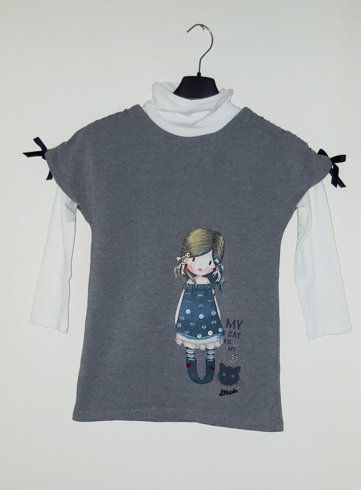 Mek felpa + t-shirt a lupetto maniche lunghe 7 anni 122 cm nuova, molto carina