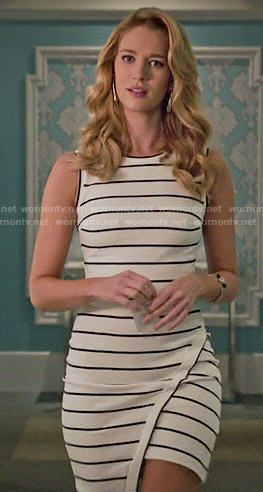 Petra's striped asymmetric dress on Jane the Virgin.  Outfit Details: http://wornontv.net/53529/ #JanetheVirgin