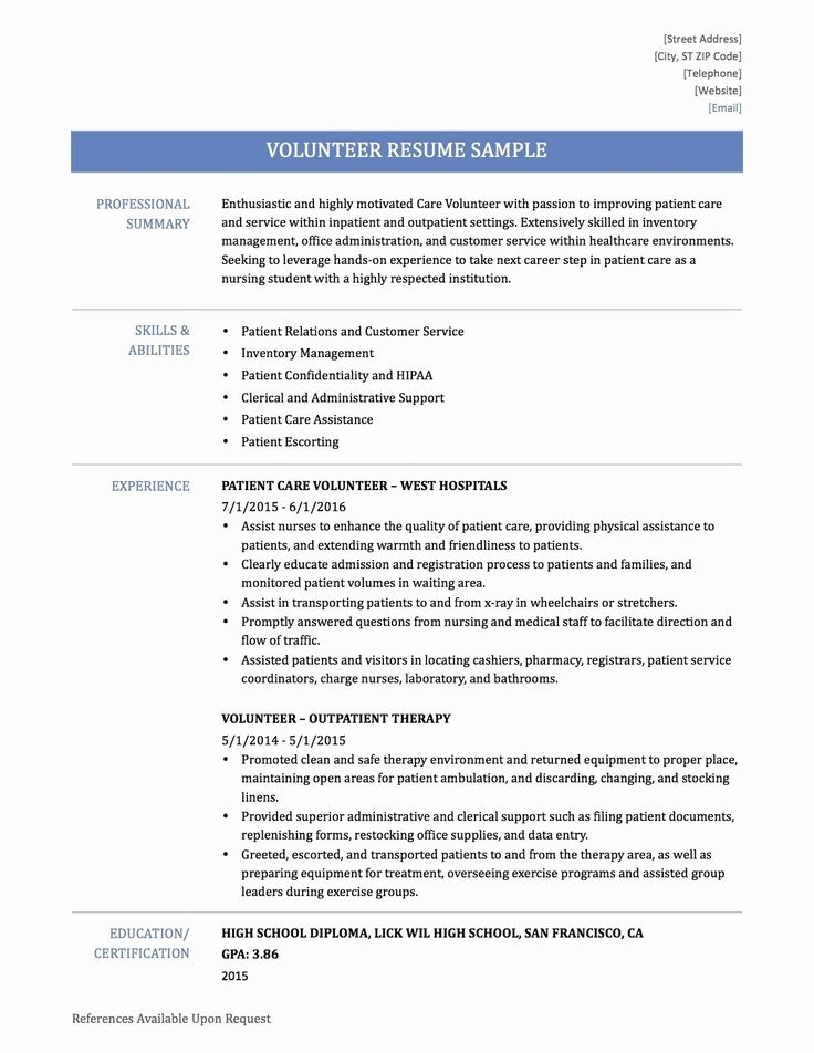 Volunteer Resume examples, Job cover letter, Resume