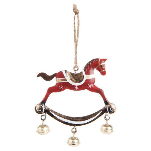 Decorazione rossa in metallo a forma di cavallo a dondolo per l'abete H 8 cm TRADITION | Maisons du Monde
