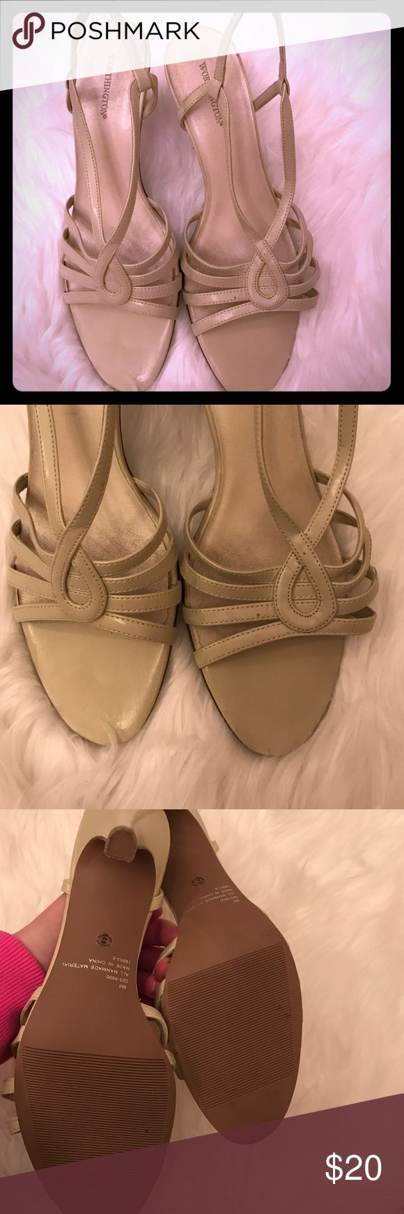 "Cream strappy heels Cream strappy heels. Only worn once. In great condition. Only slight discoloration on sole but no actual damage. 3"" heel Worthington Shoes Heels"