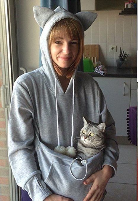 Women's Kangaroo Pouch Dog Cat Pet Carrier Fall Winter Pullover Hoodie Sweatshirt  - You can snuggle at home or on the go with your kitty while wearing this Women's Kangaroo Pouch Pet Carrier Pullover Hoodie Sweatshirt. Imagine the ease of your next vet visit carrying your cat in a convenient pouch connected to you. Your cat will love the unrestricted snuggle time.