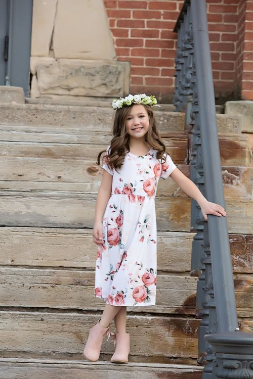 4ea3d710b Girls One and Only White Floral Cap Sleeve Dress