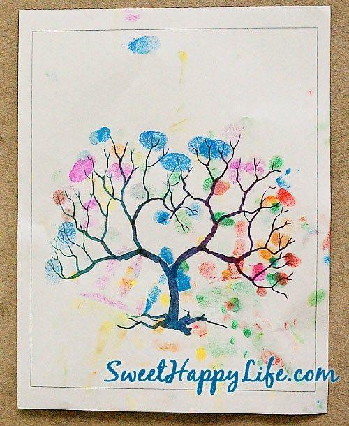 Autumn Fingerprint Tree - Autumn Toddler Activity