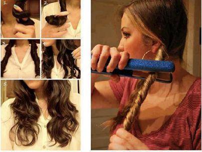 Para hacerte unos rizos rápidos y bonitos, lo único que tienes que hacer es enrollar por partes tu cabello y pasarte la planche y Listo!. No olvides ponerle fijador para que duren mucho.