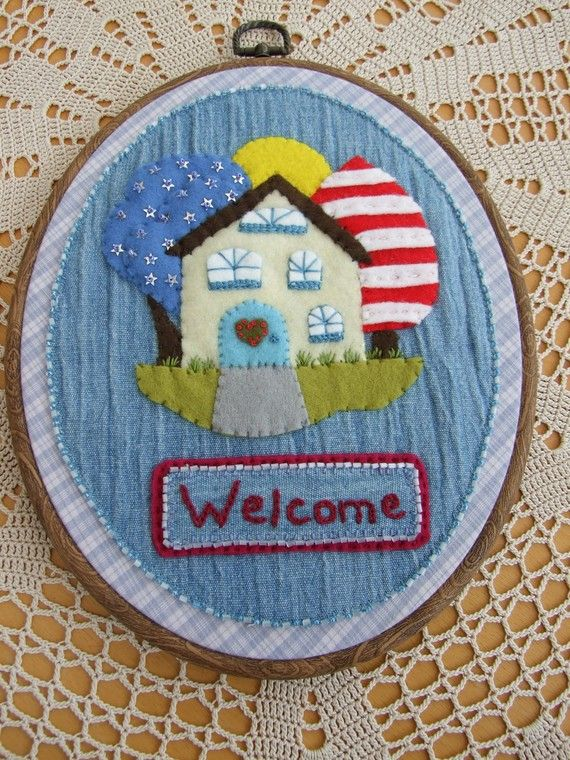 Hand Embroidered Welcome Wall Hanging by sweetheartsandroses, $20.00