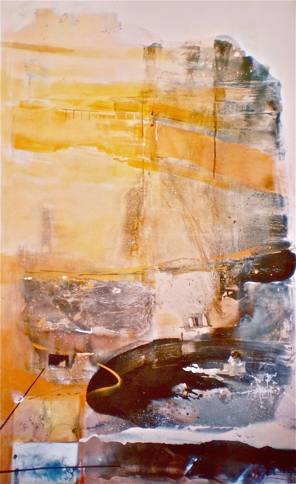 ELAINE d'ESTERRE - Presence of Rock, 2003, mixed media on canvas 240x180 cm from An Archaeology of Landscape by Elaine d'Esterre. Also at http://elainedesterreart.com and http://www.facebook.com/elainedesterreart/ and http://instagram.com/desterreart/