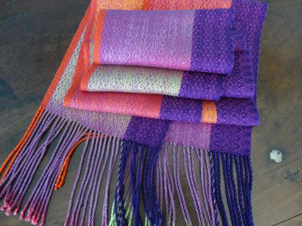 Color Pops! Tencel & Silk Scarf / Magenta Weft/ Handwoven