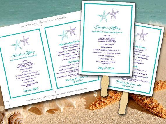 Beach Wedding Fan Template - Starfish Ceremony Program - Regency Purple Teal Blue Green - Outdoor Beach Wedding Program Favor by PaintTheDayDesigns on Etsy