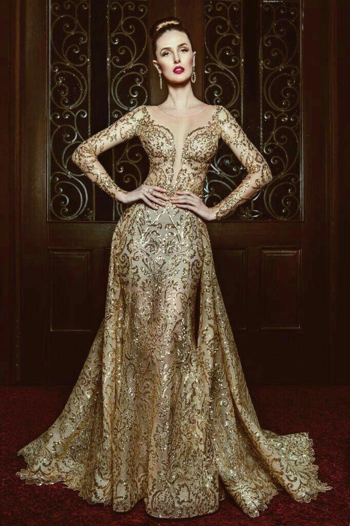 Long Sleeve Gold Dress Gala Dresses Dresses Gowns Dresses
