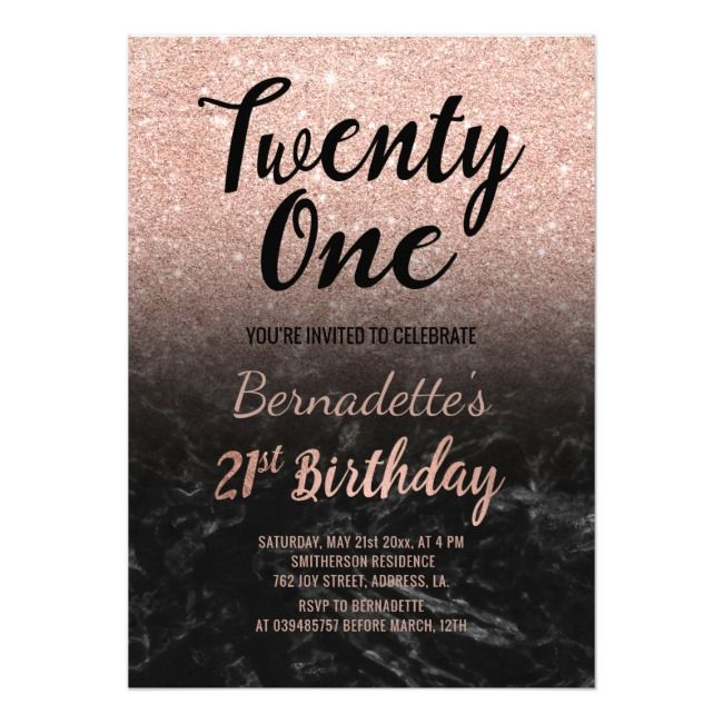 Faux Rose Gold Glitter Black Marble 21st Birthday Invitation Marbleblackstglitter