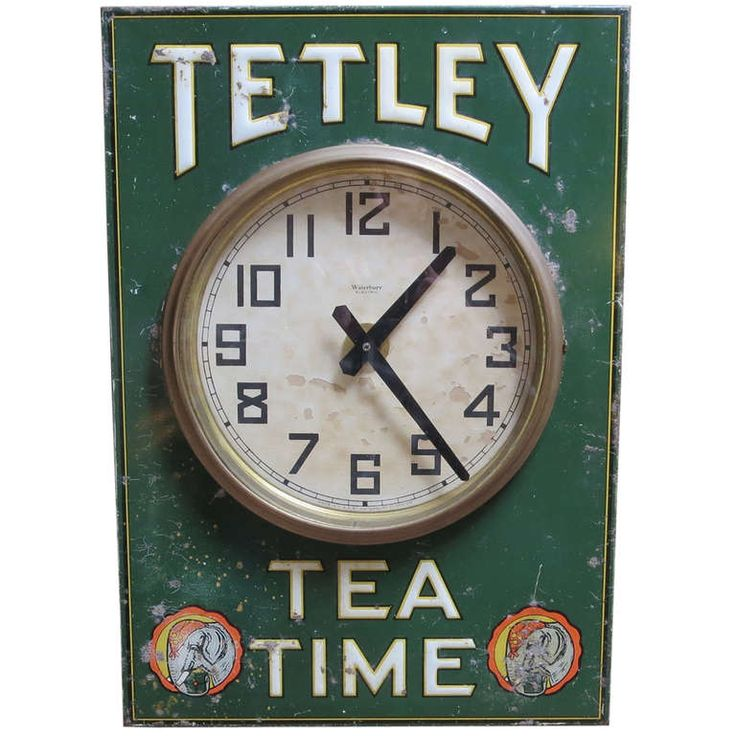 Tetley Tea Time Tin Advertising Wall Clock | From a unique collection of antique and modern clocks at http://www.1stdibs.com/furniture/more-furniture-collectibles/clocks/