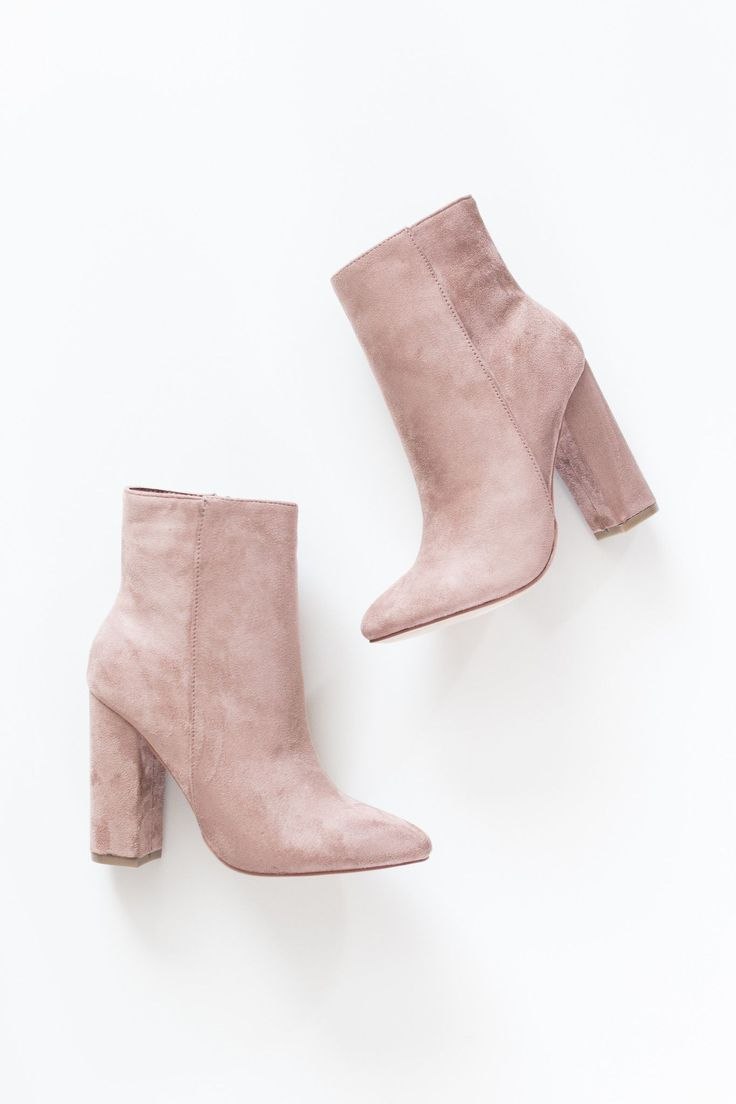 "Blush faux suede high ankle booties with side zipper and 4"" heel. Lightly padded…"