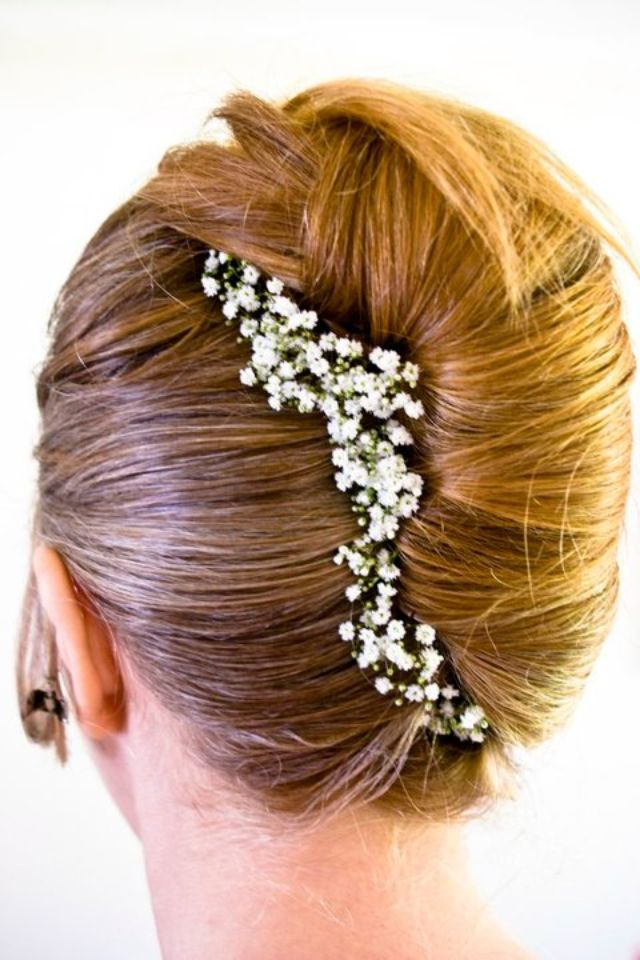 French pleat with gypsophila - just popping this photo up in case you have not decided on hair yet :)
