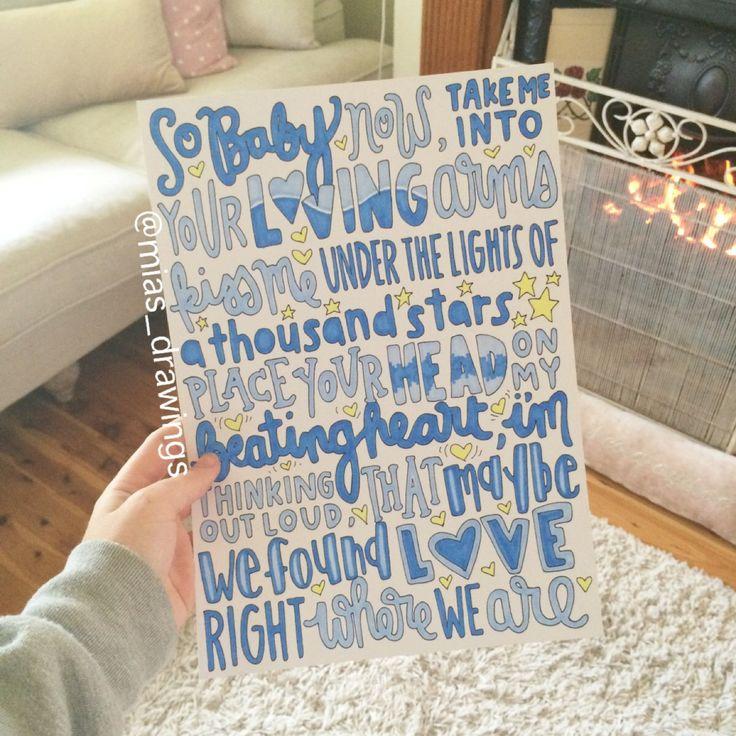 Thinking Out Loud  Ed Sheeran lyric art by Miasdrawings on Etsy, $6.00
