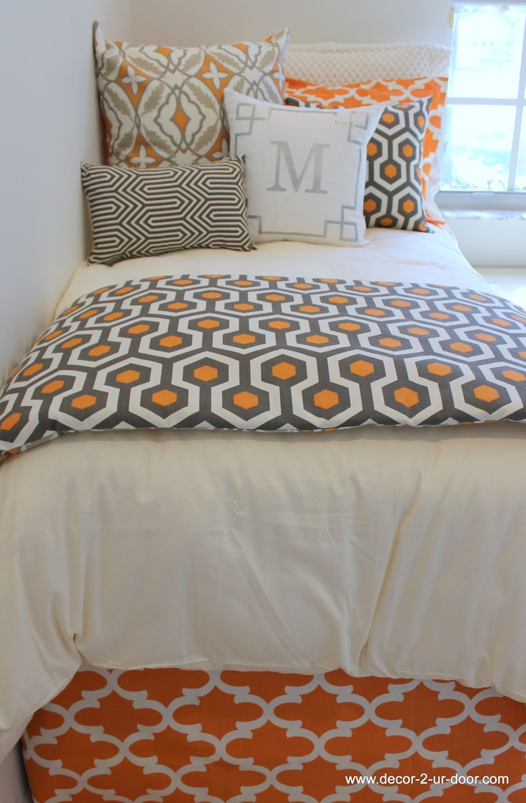 tangerine and taupe designer dorm room bedding sets www.decor-2-ur-door.com unique bed in bags sets and design your own option with 100's of fabric selections.  fun and easy! Can't wait to help you prepare your nest!