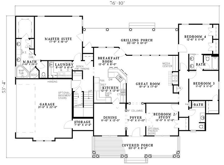 2500 sq ft one level 4 bedroom house plans | First Floor Plan of Country Southern House Plan 61377