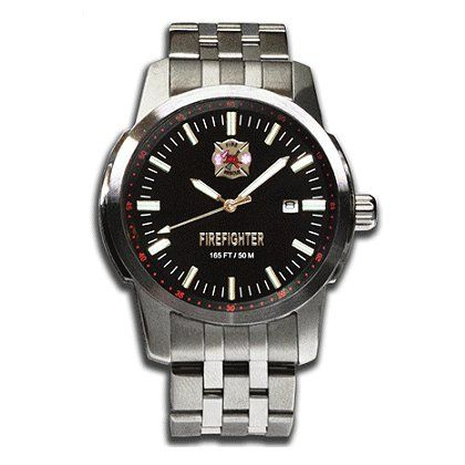 Falcon Series Firefighter Watch- Stainless Steel with Black Face, Quartz crystal, Maltese Cross emblem and FIREFIGHTER lettering.  Calendar date  #TheFireStore