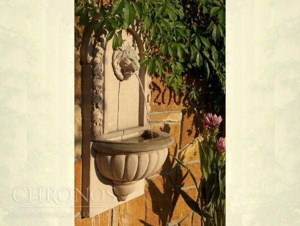 Wodozbiór ścienny Wiktoriański - fontanna z kamiennym pyskiem lwa