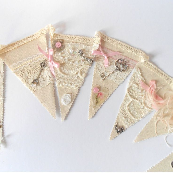 Shabby Chic Wedding Bunting Banner Garland.I'm doing to make one of these I think it's so beautiful I'll put globe charms on it.