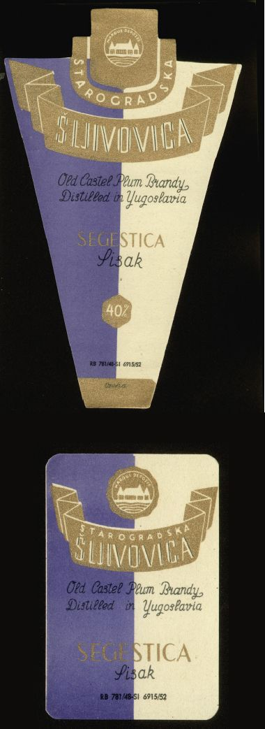 Label designed by Ozeha for schnapps Starogradska šljivovica from 1952. Client: Segestica, former well-known Croatian alcoholic drinks producer from Sisak. Source: Unknown inheritance- a collection of packaging of City Museum Sisak, exhibition catalog, 2016