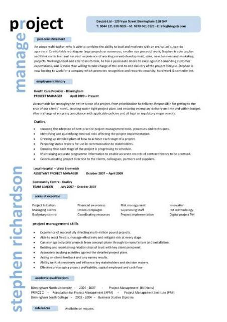 project manager sample resume