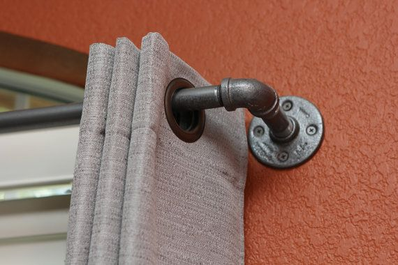 "Industrial Curtain Rod, Super Long Industrial Chic Pipe Curtain Rod 237""- 306"" long (0.5"" steel pipe) Steampunk, Modern Industrial Decor Rod"