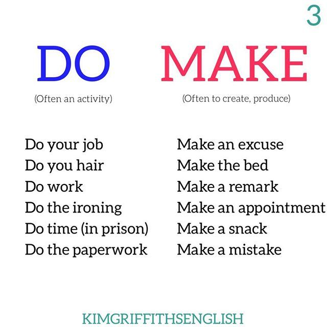 Remember do is often an activity and make is often a result or something you create. What are you doing after checking your Instagram? . . . . . #vocabulario #learnenglish #englisheslkimgriffiths #learningenglish #studyenglish #ingles #aprendaingles #estudiaringles #inglese #engleski #anglais #faleingles #inglesnoinstagram #blogger #blogginggals #immtribe #vocabulary #grammar #englishvocabulary #hallazgossemanal #tuesdaywords #esl #eslteacher #tefl #eflteacher #education…