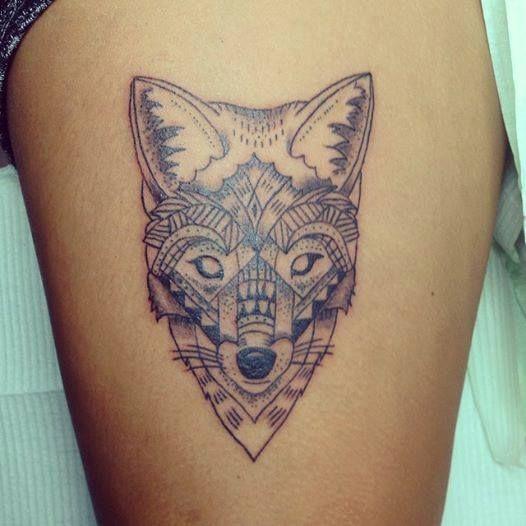 Coyote geometric tattoo by Emily Bourke