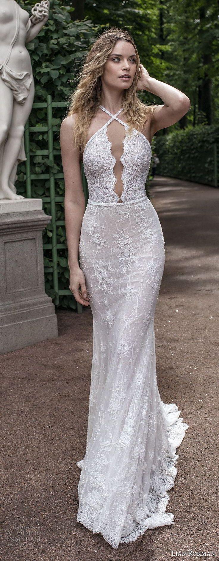 lian rokman 2018 bridal sleeveless halter neck keyhold bodice full embellishment elegant sexy sheath fit and flare wedding dress open back medium train (3) mv -- Lian Rokman 2018 Wedding Dresses