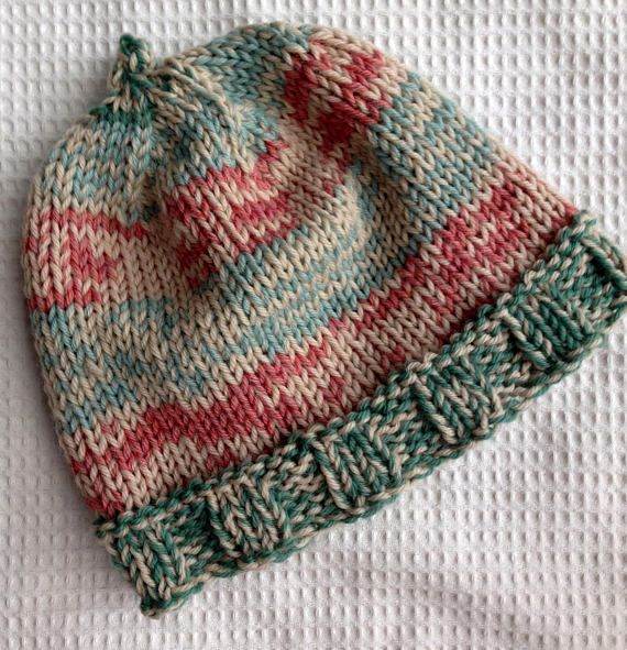 Handknit Wool Hat/Cap for Winter Aqua Coral and Cream