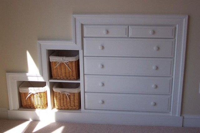 In most cases a knee wall is not a load-bearing partition. You can make a Knee Wall Dresser without sacrificing a single square inch of floor space.